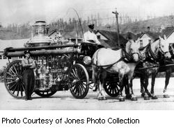Photo Courtesy of Jones Photo Collection, horse drawn fire vehicle